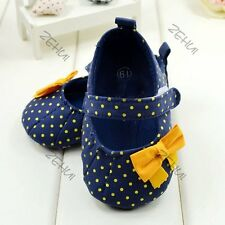 Toddler Baby Girl Vogue Princess Blue Polka Dot Soft Sole Crib Shoes Prewalker