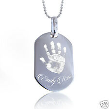 """Personalised 925 Silver Pendant Photo Engraved Round Corners Dog Tag & 20"""" Chain"""