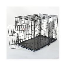 Pet Dog Crate Cat Animal Cage Folding 2 Door Portable Carrier Metal Wire Kennel