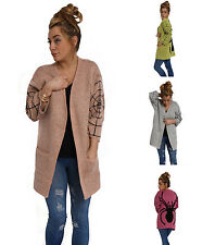 Womens Spider Print Knitted Cardigan Ladies Fashion Jumper 3/4 Sleeves Size 8-14