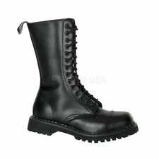 DEMONIA Leather Mid Calf Boots Lace Up Biker Combat Goth Style ROCKY-14 Black