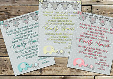 Printable Invite Personalised BABY SHOWER ELEPHANT Invitation JPEG You Print