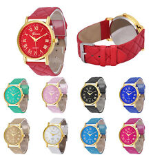 New Hot Geneva Watch Womens Watch Casual Quartz Wrist Watch Faux Leather Band