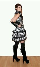 Black & White stripe bustle skirt. Lace. Burlesque. Steampunk. 8-10-12-14-16