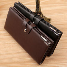 Men's Leather Bifold Wallet Long Business Clutch Card Holder Coin Purse FastShip
