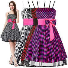 ST Swing Polka Dots Satin Ball Evening Senior Bow Prom Party Dress Cocktail Mini