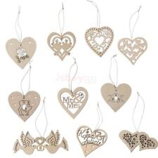 10pcs Wooden Wood Heart Tags Laser Cut scrapbooking Embellishments Craft Decor