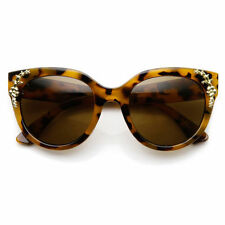 Womens Oversized Flower Adorned Accent Cat Eye Sunglasses