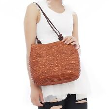 New Women Wooden Beads Summer Beach Shoulder Bag Straw Woven Tote Bags Handbag S