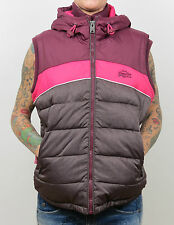SUPERDRY Retro Hooded Sherpa Gilet - Vest GS5HG031 03P - Burgundy Marl new