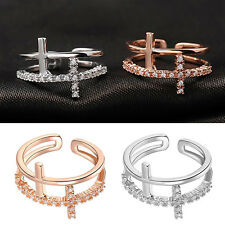 Women's Double Cross 2 Layers 9K Gold Plated Crystal Rhinestone Open Ring Gift