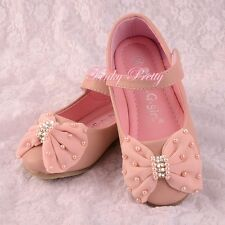 Pearls Bow Mary Janes Shoes Pink Size UK 8-1 EU 25-32 Flower Girl Party GS016