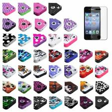Silicone TUFF HYBRID Hard Case Cover For Apple iPhone 4 4s Color+Screen Film
