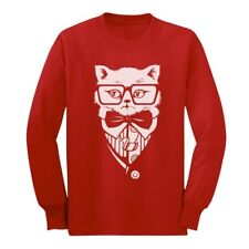 Hipster Cat Suit & Tie Tuxedo Hipster Kitty Cat Long sleeve kids T-Shirt Gift