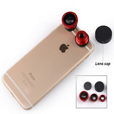 3 in1 Fisheye Wide Angle + Macro Camera Clip on Lens For iPhone 6S Samsung/LG