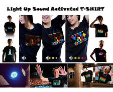 New Fashion Men & Women Clubbing Light Up Flashing Sound Activated LED T-Shirt