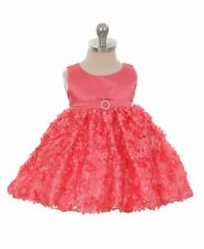 New Baby Toddler Flower Girls Coral Dress Pageant Birthday Wedding Party Formal