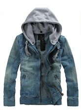 Men Denim Hoodie Jacket with Detactable Grey Cotton Drawstring Hooded