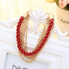 Luxurious Hand-woven Rope Chain Bracelet Multilayer Metal Weaving Jewelry Girls