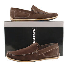 Mens New Brown Real Suede Moccasin Casual Comfortable Auto Driving Shoes 6 - 12