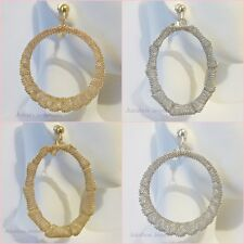 Clip On 2 inch MESH Oval or Round Hoop Non Pierced Earrings Gold or Silver Tone