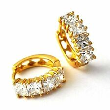 Gorgeous 18K Yellow Gold Filled crystal Crystal Womens & Girls Hoop Earrings