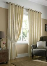 CREAM WOVEN JACQUARD TRAILING LEAF RING TOP CURTAINS 9 SIZES
