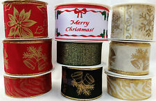 NEW SELECTION WIDE WIRED EDGED CHRISTMAS RIBBON - 1 or 3 METRES