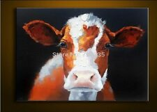 2016 Hot Hand Painted Canvas Animal Oil  Painting Wall Art Paintings Cow 24x32in