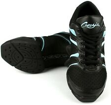 Black and Ice Blue Capezio bolt DS30 split sole jazz shoes / sneakers -all sizes