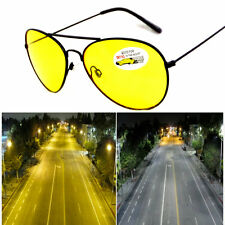 Men Night Driving Yellow Lens Aviator Glasses Metal Frame Sunglasses Anti Glare