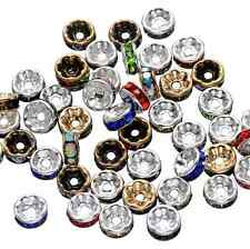 50Pcs Czech Crystal Rhinestone Silver Rondelle Spacer Beads Charm Finding 8mm