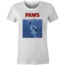 Paws Steven Spielberg Jaws Movie Womens T-shirt New Kitty Cat Tee Cute