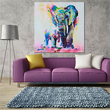 Canvas Painting Animal Picture Print Wall Art Decor Elephant Family 20x20inch