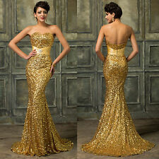 Sequins Golden Ball Party Prom Long Bridesmaid Dress Mermaid Formal Evening Gown