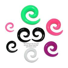 Pair of Acrylic Spirals Tapers Expander Stretcher Plugs 8G Thru 00 Gauge