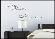 Smile Cry Happy Quote Wall Sticker Bedroom Room Decal Mural Transfer Art Stencil
