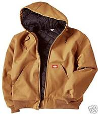 dickies mens insulated hooded arctic winter skater or work jacket brown Duck 2XL