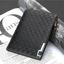 Mens Leather Wallet Card Clutch Purse Pockets Cente Bifold Money Clip