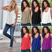 Womens Sleeveless Chiffon Colorblock Vest Tops Blouse Casual Tank Shirts S-5XL