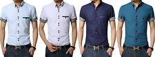 Summer Men's Clothing Short-Sleeve Shirt Casual Slim Fit Stylish Dress Shirts FK