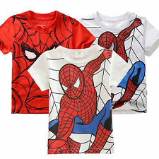Kids Girls Boys Spider-Man Shirt Tops Short Sleeve T-Shirts Summer Clothing 2-7Y