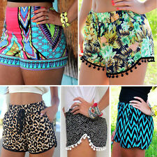 Women Pom Pom Shorts High Waisted Tassel Tribal Print Gym Beach Casual Hot Pants