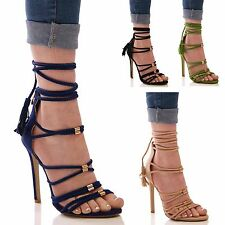 LADIES WOMENS HIGH HEEL SUMMER FASHION FORMAL PARTY STRAPPY EVENING SHOES