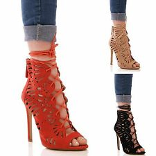 LADIES WOMENS CUT OUT HIGH HEELS SUMMER SANDALS FORMAL EVENING PARTY SHOES