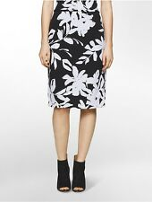 calvin klein womens graphic floral knit pencil skirt