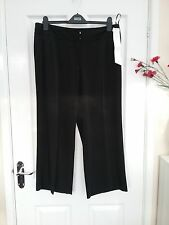 M & S Petite womens Black Tailored Trousers Wide Leg Size 16 Petite BNWT
