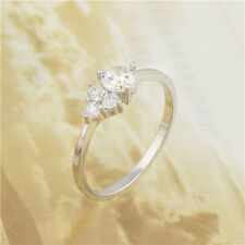 Charming 18K White Gold Filled CZ Womens Band Ring,Size 8,9