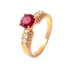 Stunning 18K Yellow Gold Filled Red Ruby CZ Womens Band Ring,Size 6,7,8,9