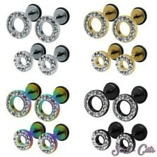 1 Pair Fake plugs round with rhinestones Ear Studs Earrings Stainless steel